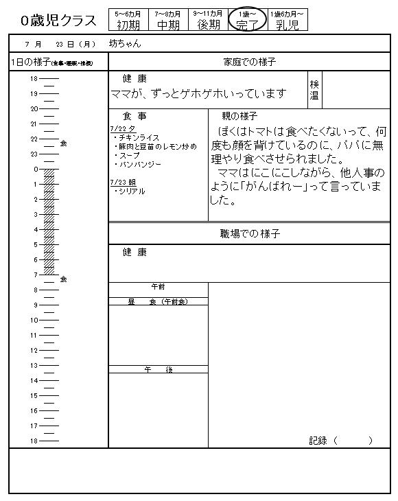 保育園 坊ちゃんの裏連絡帳 2018/07/23
