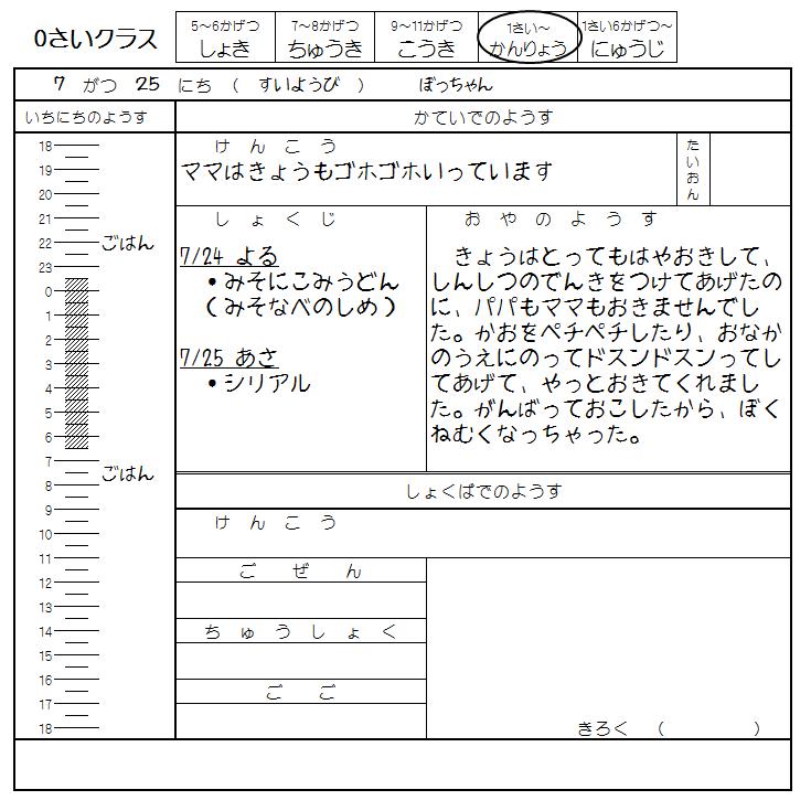 保育園 坊ちゃんの裏連絡帳 2018/07/25